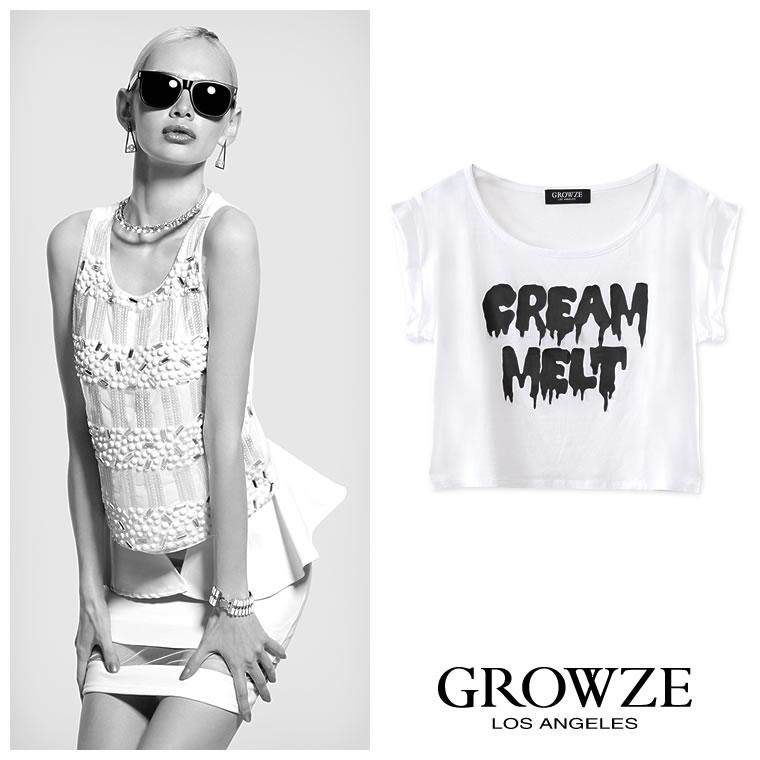 シャツ通販〜GROWZEブランドの【GROWZE】MELTグラフィックプリントショート丈Tシャツ