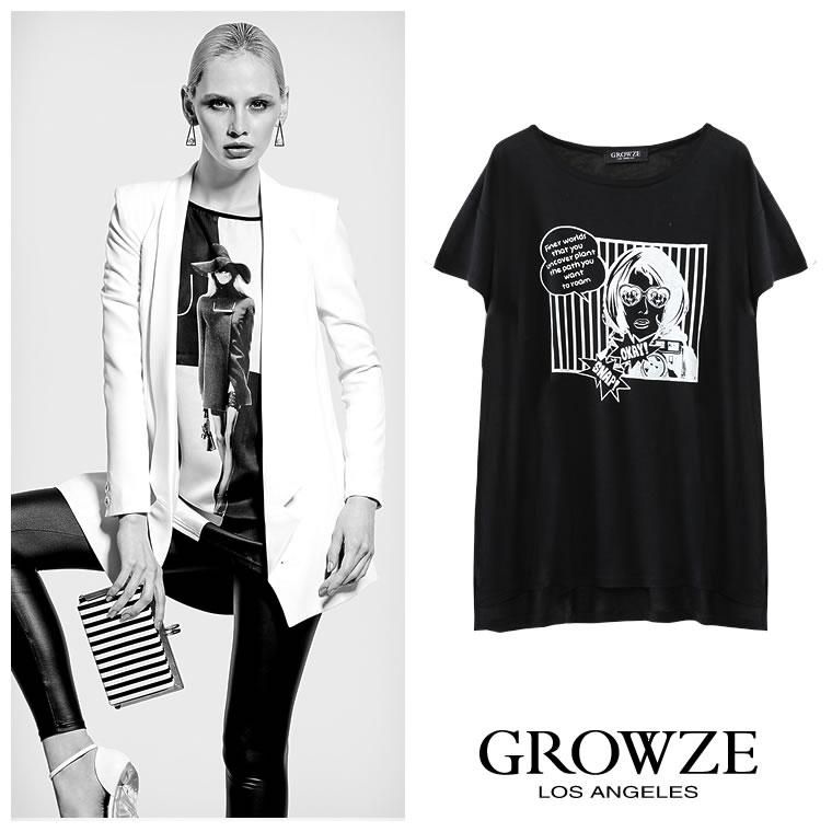 シャツ通販〜GROWZEブランドの【GROWZE】アメコミガールグラフィックプリントTシャツ