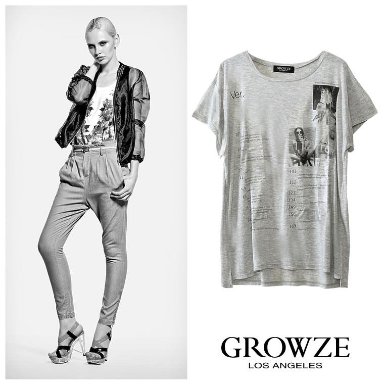 シャツ通販〜GROWZEブランドの【GROWZE】クリアナンバリングレディグラフィックプリントTシャツトップス