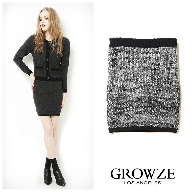 スカート通販〜GROWZEブランドの[GROWZE]【A/Wコレクション】ツイード風ニットタイトミニスカート