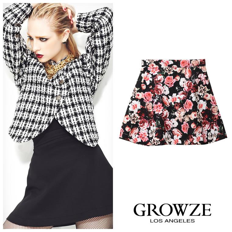スカート通販〜GROWZEブランドの[GROWZE]【A/Wコレクション】ダイバーフラワー花柄フレアミニスカート