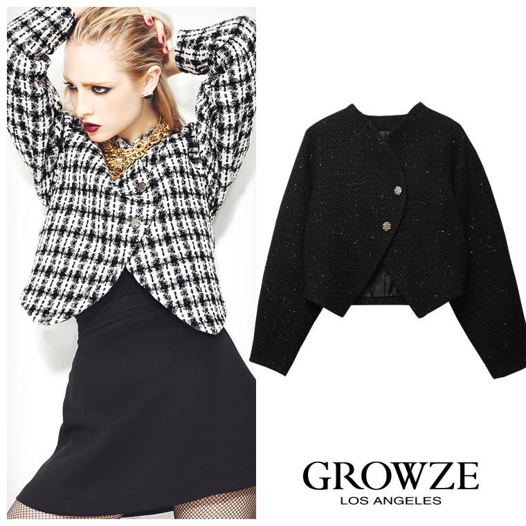 アウター通販〜GROWZEブランドの[GROWZE]【A/Wコレクション】ラウンドショルダーツィードショートジャケット
