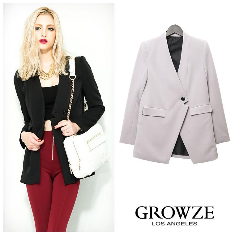 アウター通販〜GROWZEブランドの[GROWZE]【A/Wコレクション】ワンボタンカラーレスロングジャケット