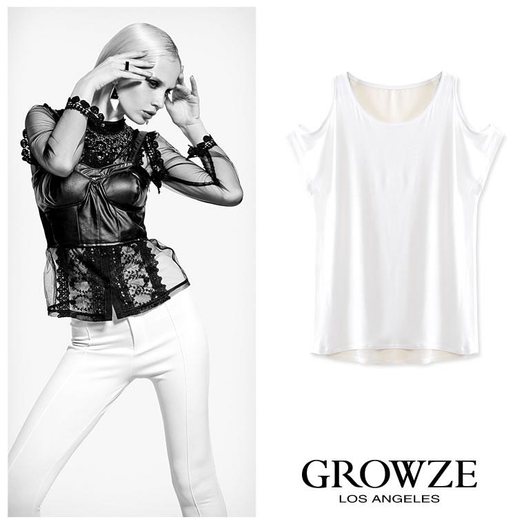 シャツ通販〜GROWZEブランドの【GROWZE】BACKシフォン切替オープンショルダー半袖Tシャツ