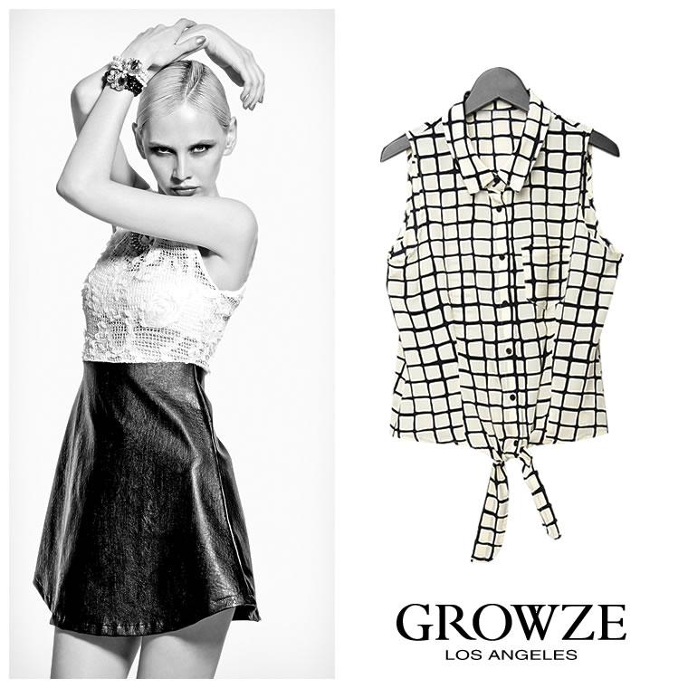 シャツ通販〜GROWZEブランドの【GROWZE】ブロックチェック前結びタンクトップノースリーブシャツ