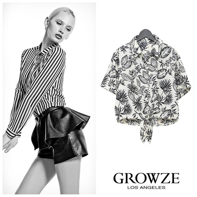 シャツ通販〜GROWZEブランドの【GROWZE】リゾートリーフパターンプリント柄裾結び半袖シャツトップス