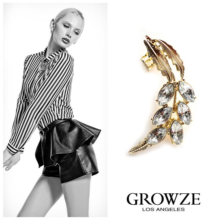 ピアス通販〜GROWZEブランドの【GROWZE】【A/Wコレクション】リーフモチーフビジューイヤーカフ