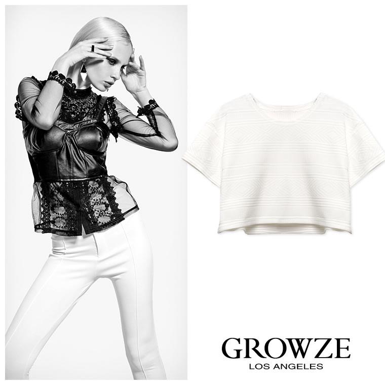 シャツ通販〜GROWZEブランドの【GROWZE】ジオメトリックパターンシンプルカラーショート丈半袖トップス