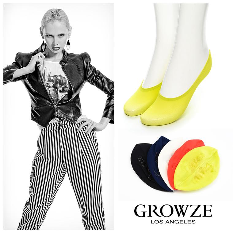 ソックス通販〜GROWZEブランドの【GROWZE】カラーメッセージロゴ入りショートソックス