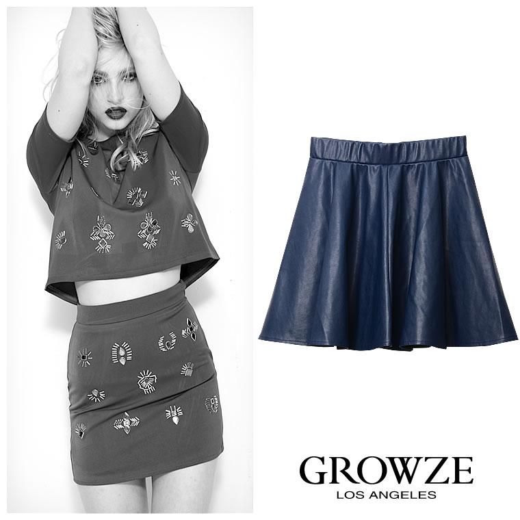 スカート通販〜GROWZEブランドの[GROWZE]【A/Wコレクション】フェイクレザーフレアミニスカート