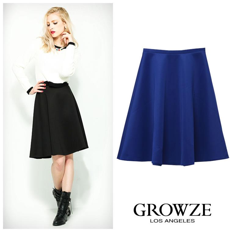 スカート通販〜GROWZEブランドの[GROWZE]【A/Wコレクション】ダイバー風フレアーミディアムスカート