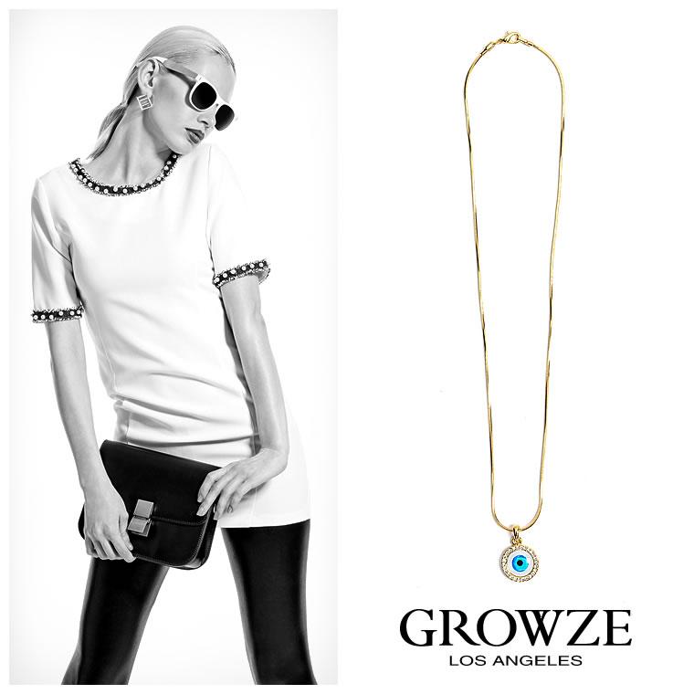ネックレス通販〜GROWZEブランドの【GROWZE】インパクトブルーアイモチーフサークルデザインネックレス