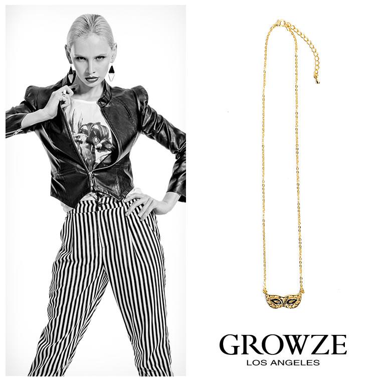 ネックレス通販〜GROWZEブランドの【GROWZE】アイマスクモチーフメタルカラーチェーンネックレス