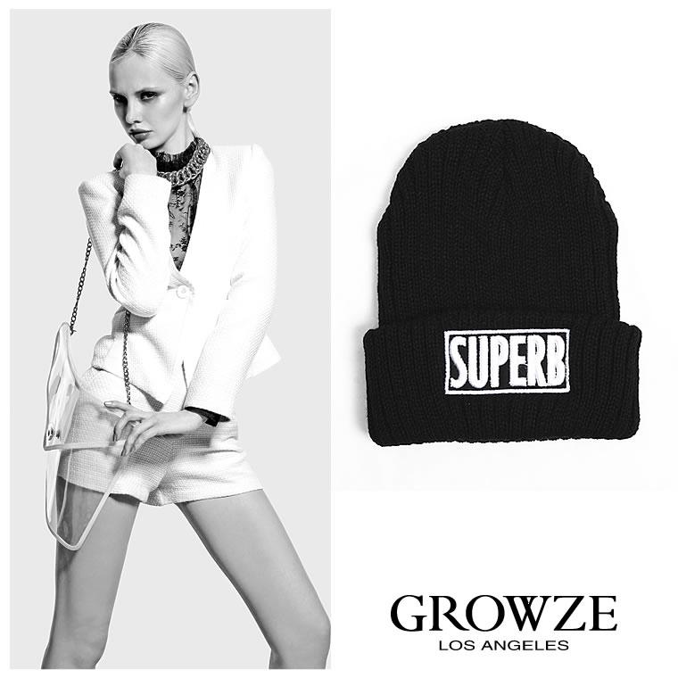 帽子通販〜GROWZEブランドの【GROWZE】【A/Wコレクション】SUPERB刺繍ロゴニットキャップ