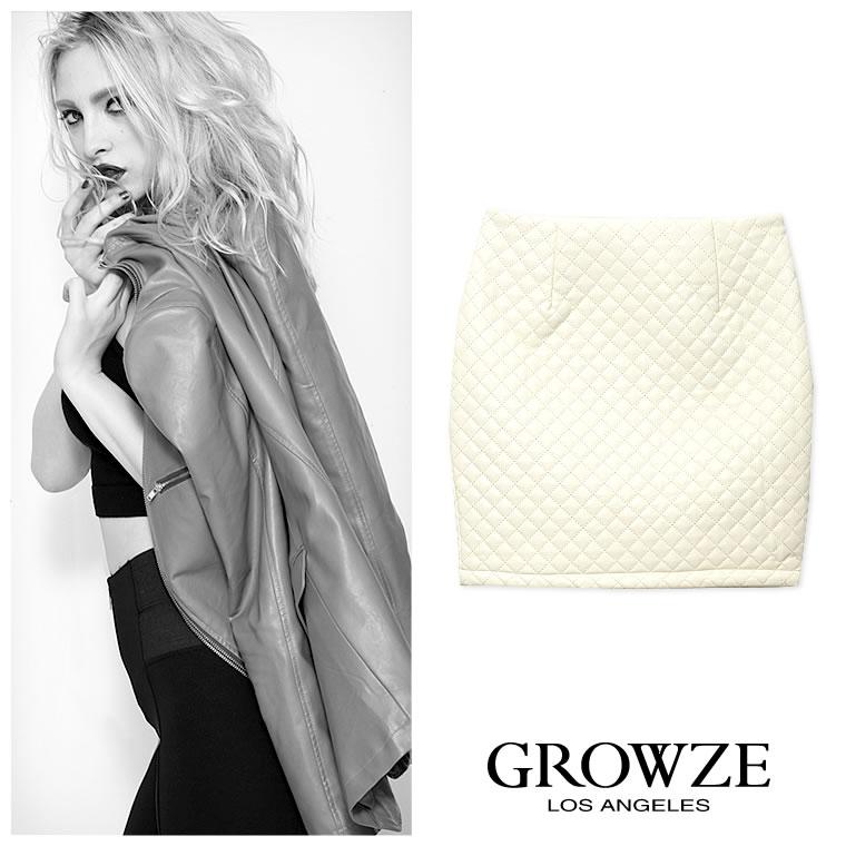 スカート通販〜GROWZEブランドの[GROWZE]【A/Wコレクション】フェイクレザーキルティングタイトミニスカート