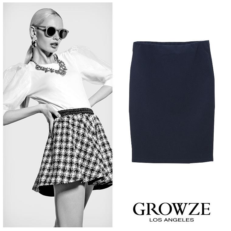 スカート通販〜GROWZEブランドの【GROWZE】【A/Wコレクション】ポンチタイトミニスカート