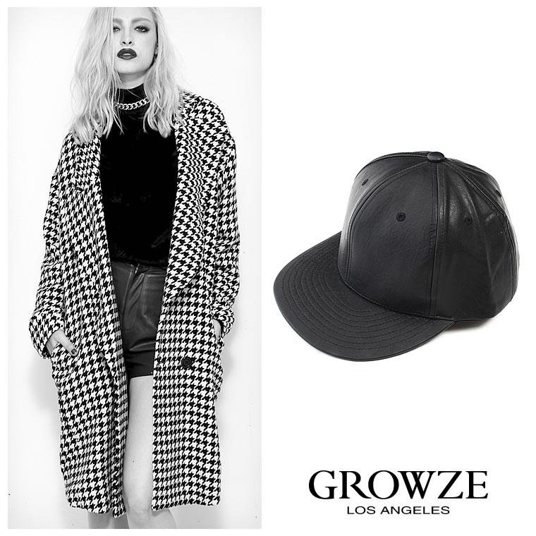 帽子通販〜GROWZEブランドの[GROWZE]【A/Wコレクション】レオパードヒョウ柄orフェイクレザーキャップ