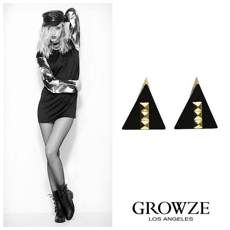 ピアス通販〜GROWZEブランドの[GROWZE]【A/Wコレクション】トライアングルスクエアスタッズピアス