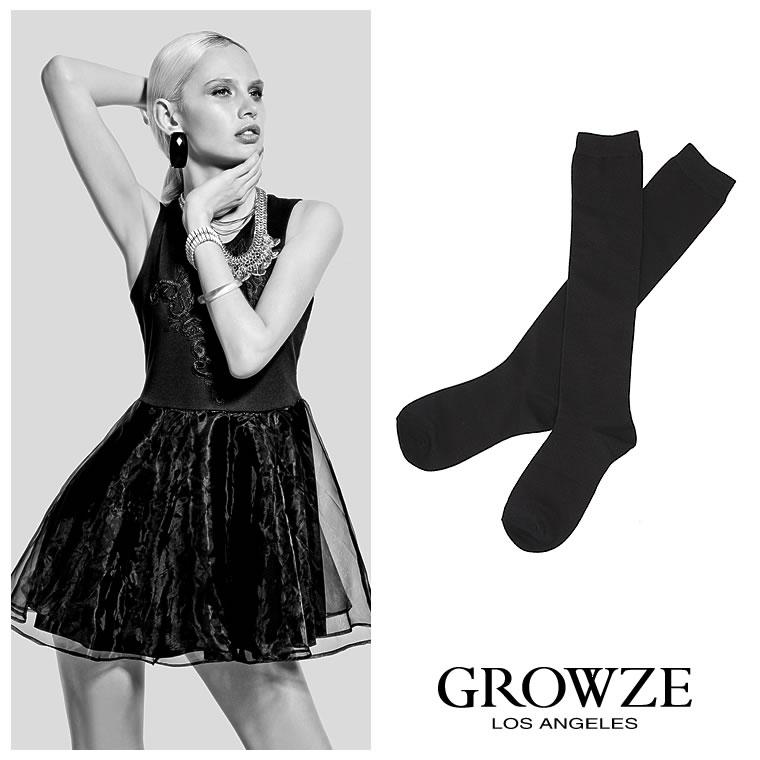 ソックス通販〜GROWZEブランドの【GROWZE】シンプルブラックベーシックカラーロング丈靴下ハイソックス