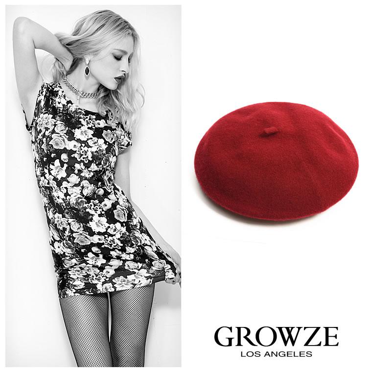 [GROWZE]【A/Wコレクション】ベーシックシンプルウールベレー帽