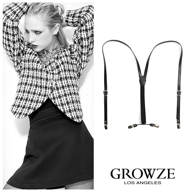 ジュエリー通販〜GROWZEブランドの[GROWZE]【A/Wコレクション】ビーガンフェイクレザーバッククロスサスペンダー