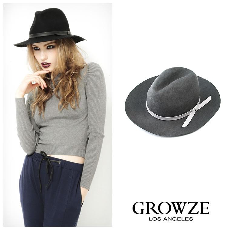 帽子通販〜GROWZEブランドの[GROWZE]【A/Wコレクション】つば広中折れ帽子ハット