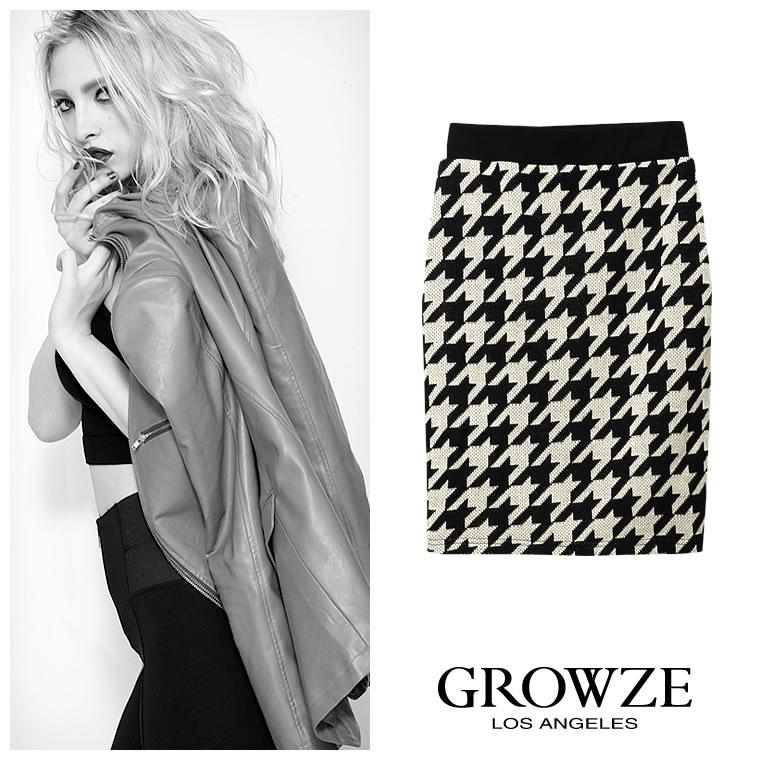 [GROWZE]【A/Wコレクション】千鳥格子柄ハウンドトゥースミディアム丈ニットタイトスカート
