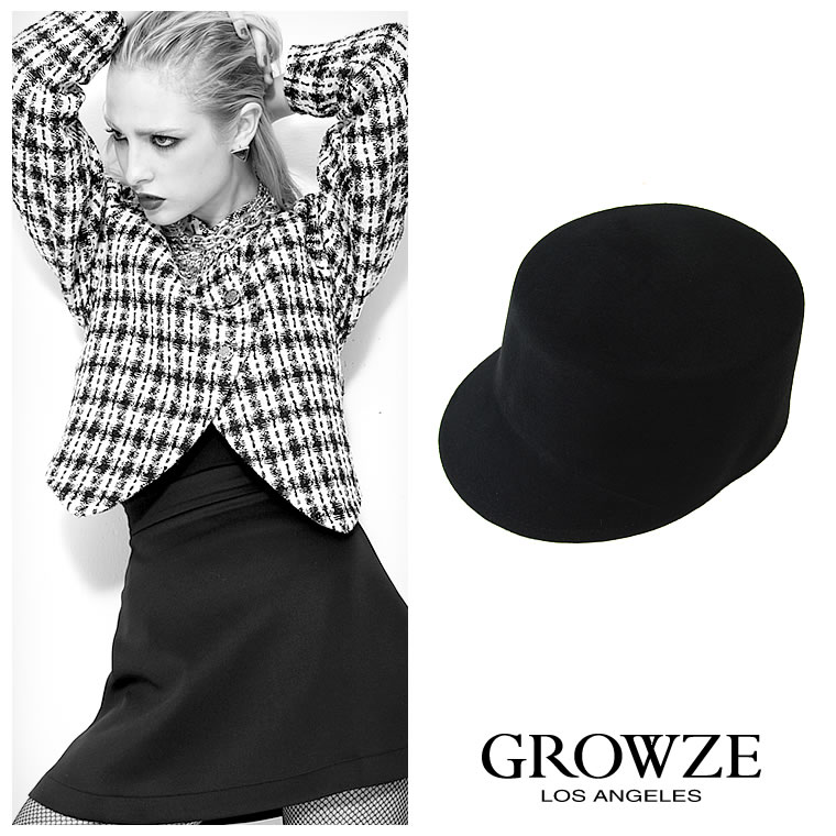 [GROWZE]【A/Wコレクション】シンプルベーシックフェルト生地マーチングハット帽子