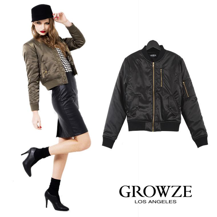 アウター通販〜GROWZEブランドの[GROWZE]【A/Wコレクション】MA-1ボンバージャケットブルゾン