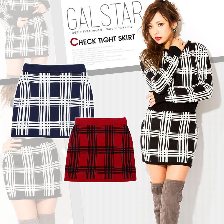 スカート通販〜GALSTARブランドの[GALSTAR]グラフチェックチェック格子柄ウエストゴムニットタイトミニスカート