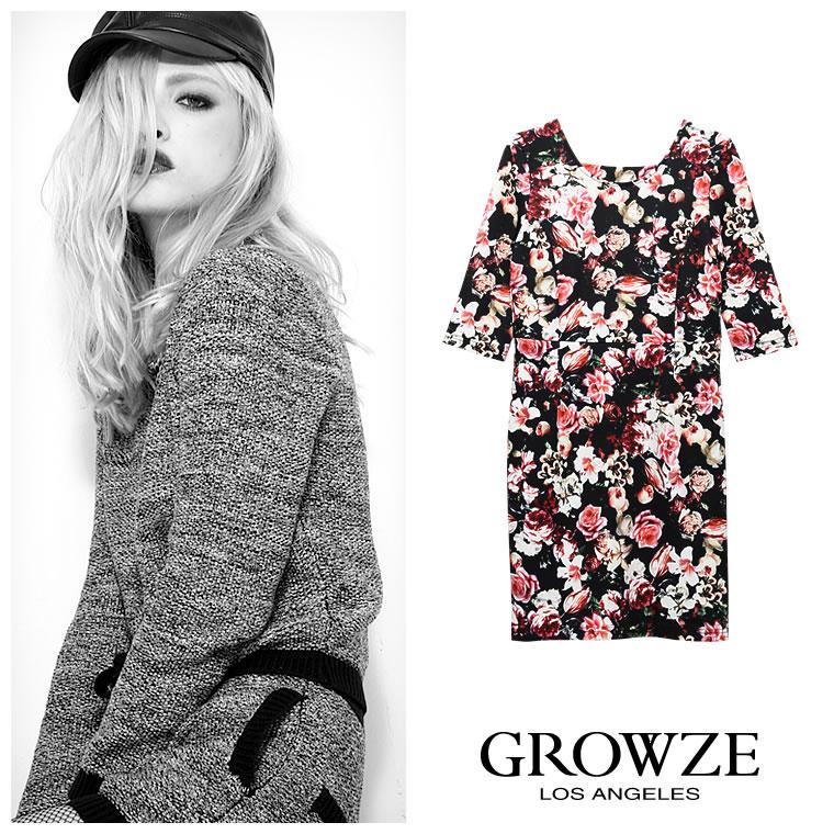 ワンピース通販〜GROWZEブランドの[GROWZE]LAヴィンテージフラワー花柄タイトワンピース
