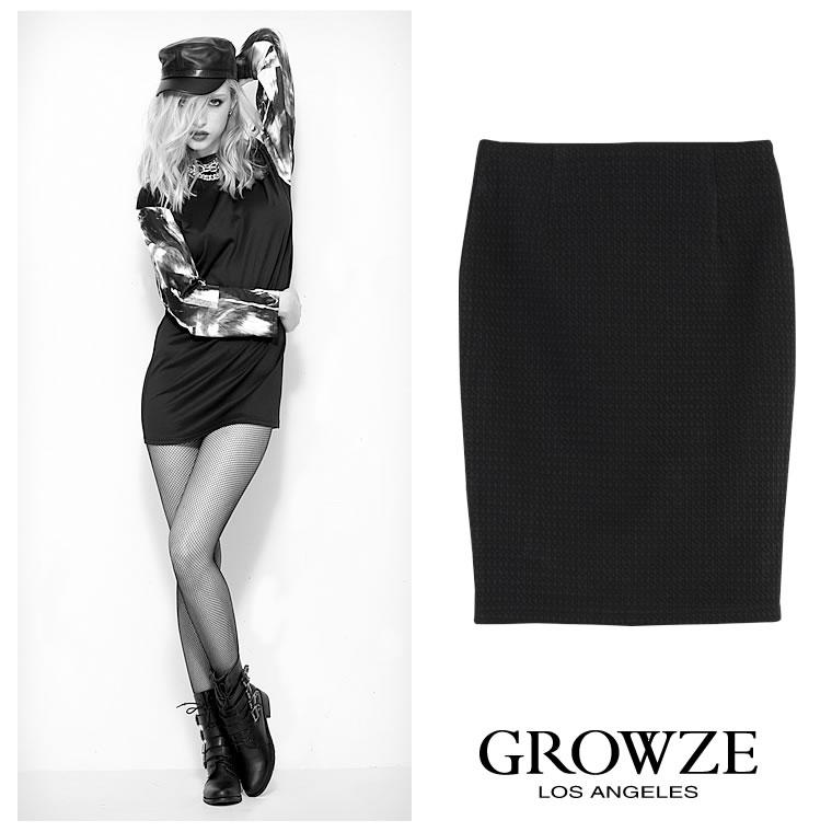 [GROWZE]【A/Wコレクション】千鳥格子柄パターンエンボスタイトスカート