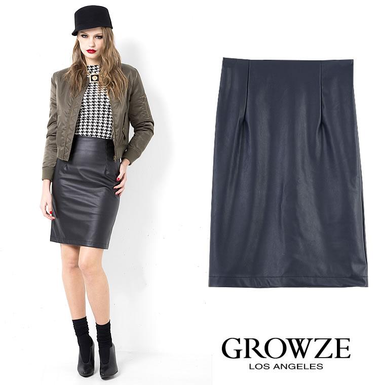 人気アイテム 通販〜GROWZEブランドの[GROWZE]【A/Wコレクション】ビーガンレザータイトミディアム丈スカート