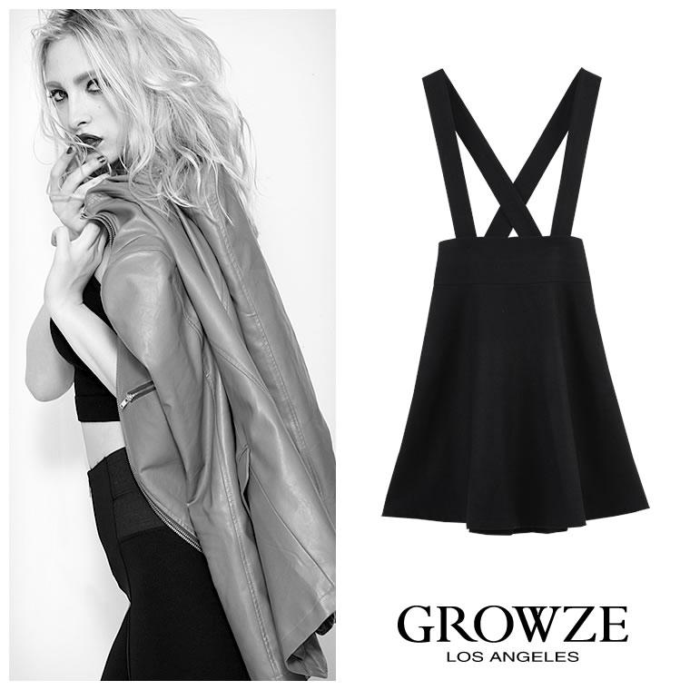 スカート通販〜GROWZEブランドの[GROWZE]【A/Wコレクション】ハイウエストメルトンフレアージャンバースカート