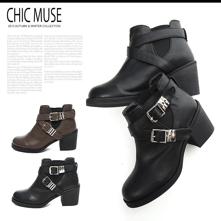靴通販〜GALSTARブランドの[ChicMuse]サイドゴア2連ベルト付ショートブーツ