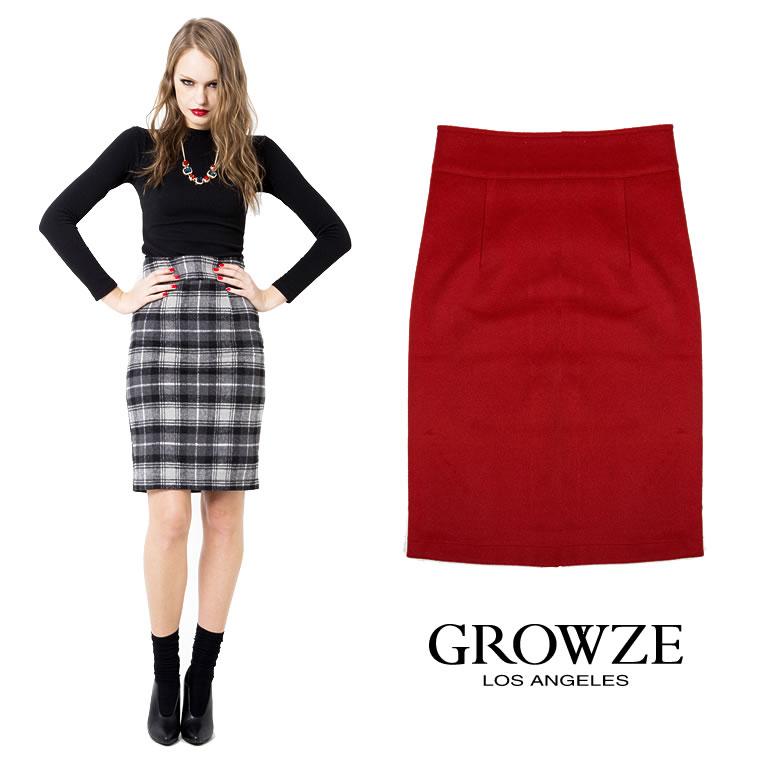 スカート通販〜GROWZEブランドの[GROWZE][GROWZE]無地orタータンチェック柄ハイウエストペンシルタイトスカート