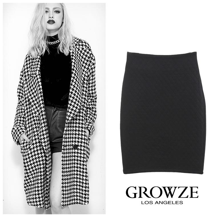 スカート通販〜GROWZEブランドの[GROWZE]キルトミディアムタイトスカート/ハイウエスト