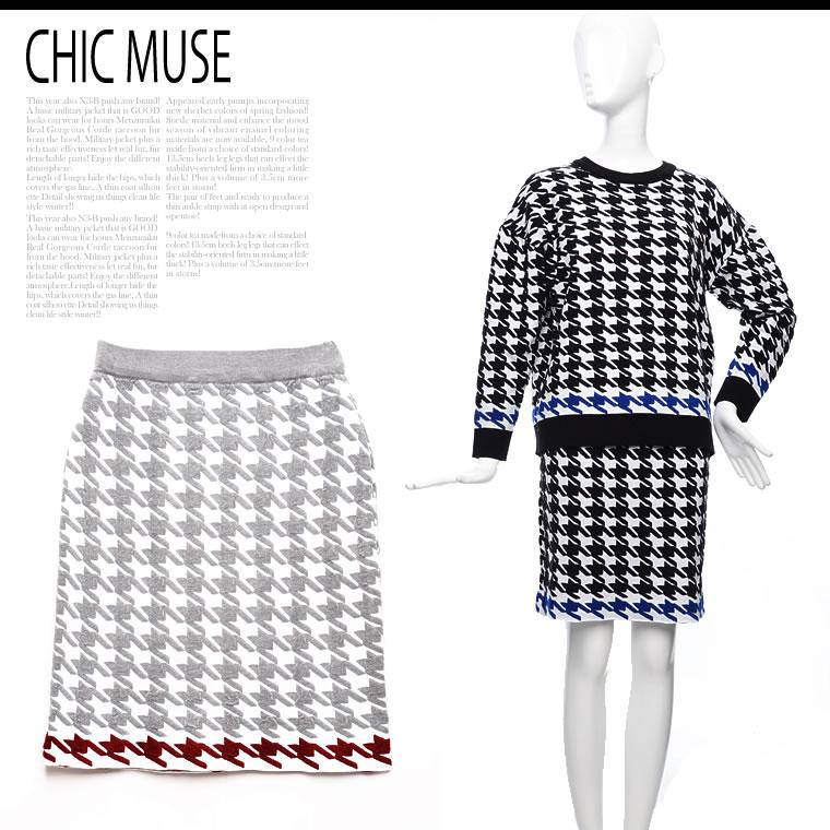 スカート通販〜GALSTARブランドの[ChicMuse][ChicMuse]千鳥柄3Dアクセントニットスカート