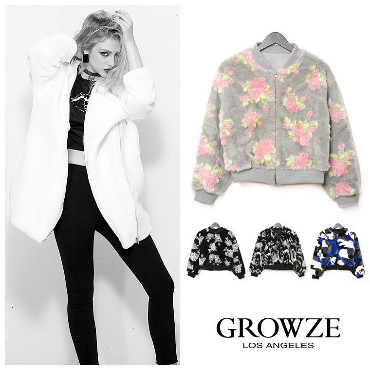 アウター通販〜GROWZEブランドの[GROWZE]カモフラor花柄ビーガンファーブルゾン