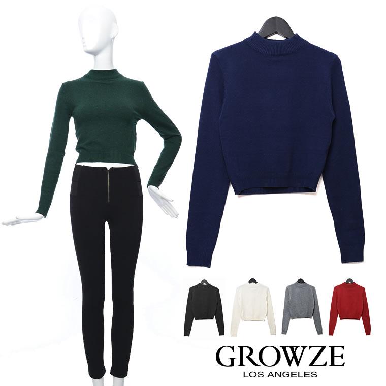 ニット通販〜GROWZEブランドの[GROWZE][GROWZE]ハイネックベーシックショートニット[予約]