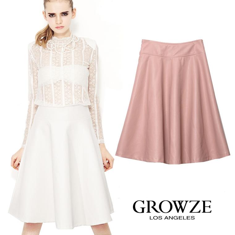 GROWZE GROWZE グローゼ S/S 春夏新作 パステルカラー ビーガンレザーミディアムフレアスカート