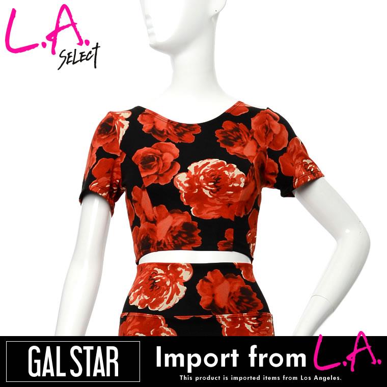シャツ通販〜GALSTARブランドの[LAセレクト]大花柄フローラルプリントショート丈トップス