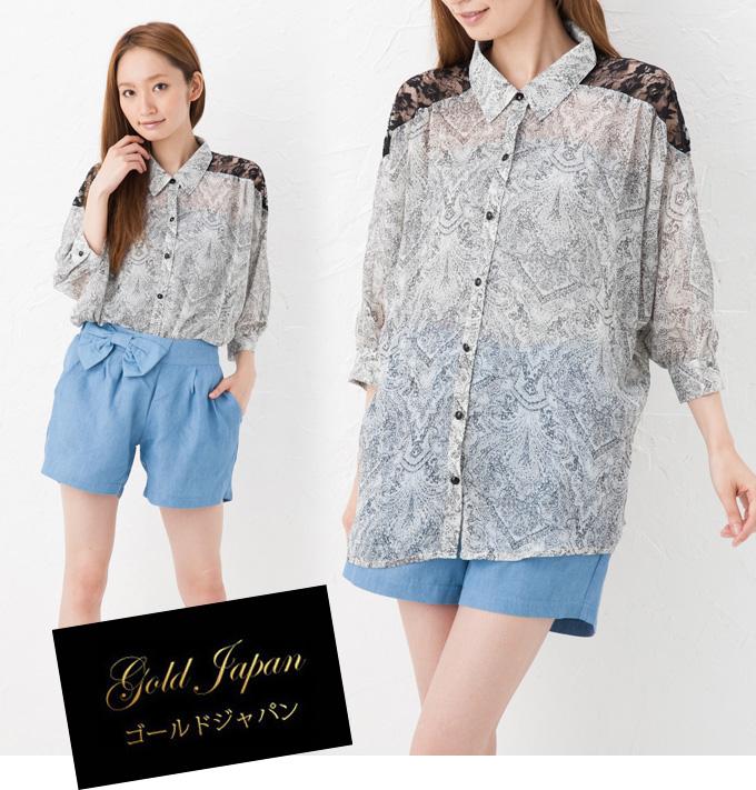 大きいサイズ レディース ブラウス blouse トップス tops レディス 半袖 半そで 柄物 レース 透け感 夏物 涼しいカジュアル シンプル ゆったり 大きめ ビッグ ラージ 大きなサイズ big large 服 ladi