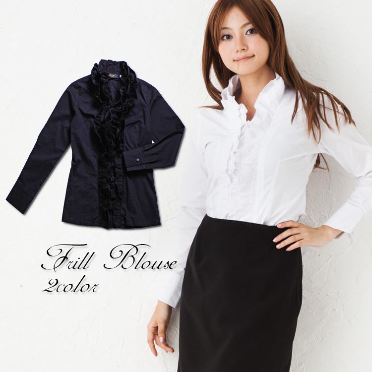 大きいサイズ レディース トップス ブラウス blouse 無地 長袖長そで 白whiteホワイト フリル 黒blackブラックトール長身 ロング Mサイズ Lサイズ LLサイズ 2Lサイズ 3Lサイズ 4Lサイズ 5Lサイズ 6Lサ