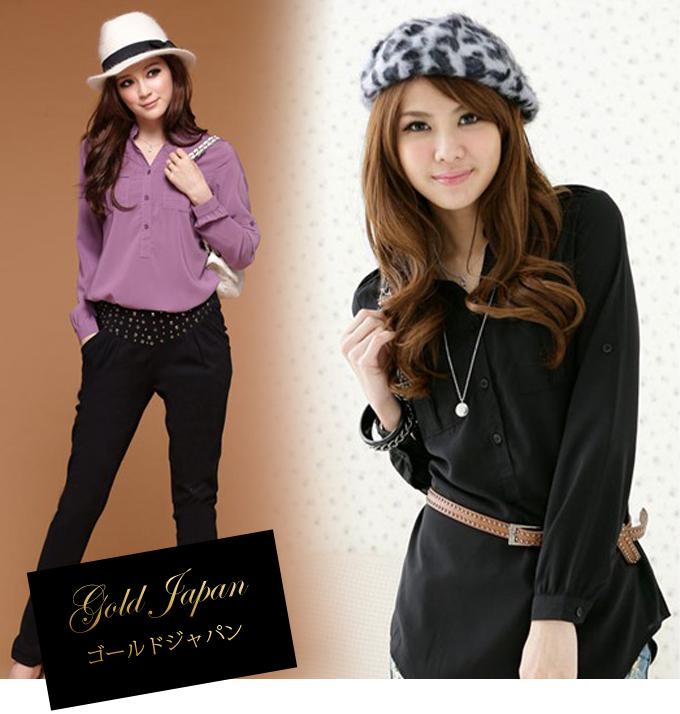 大きいサイズ レディース ブラウス blouse 長袖シャツ 長袖 長そで ロング丈 カジュアル トップス 黒 ブラック 紫 パープル無地 ポケット付き シンプル カワイイ ゆるカジ ゆったり 上品 着痩