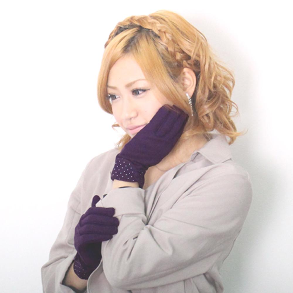 袖ドット サラッとやわらか手袋【レディース/グローブ/冬物】