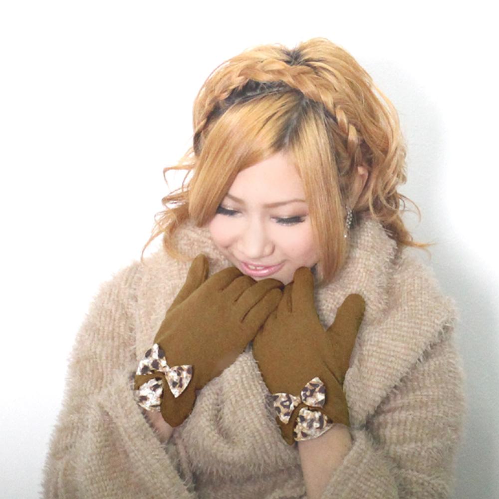 花柄リボンレース ウール混 あったか手袋【レディース/グローブ/冬物】
