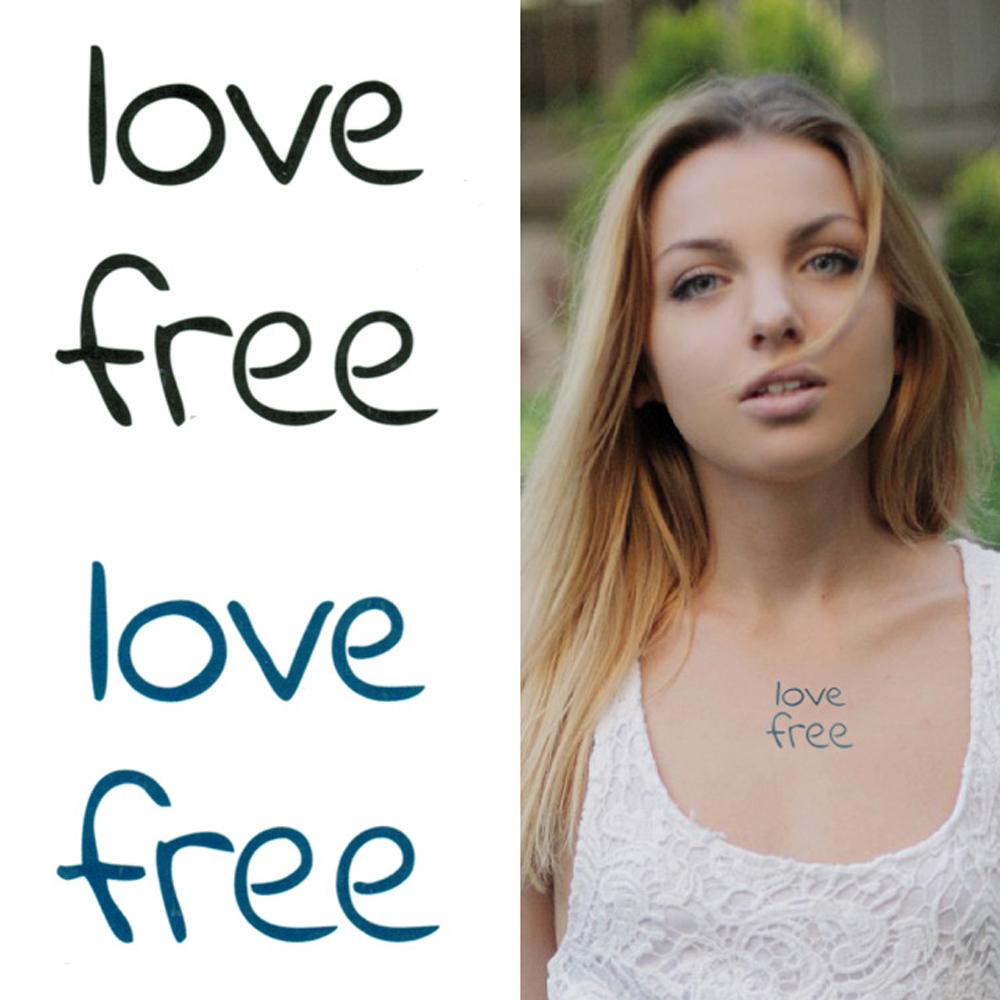 タトゥーシール 2枚セット love free【タトゥーシール/TATTOO/ボディシール/刺青シール/ステッカー】