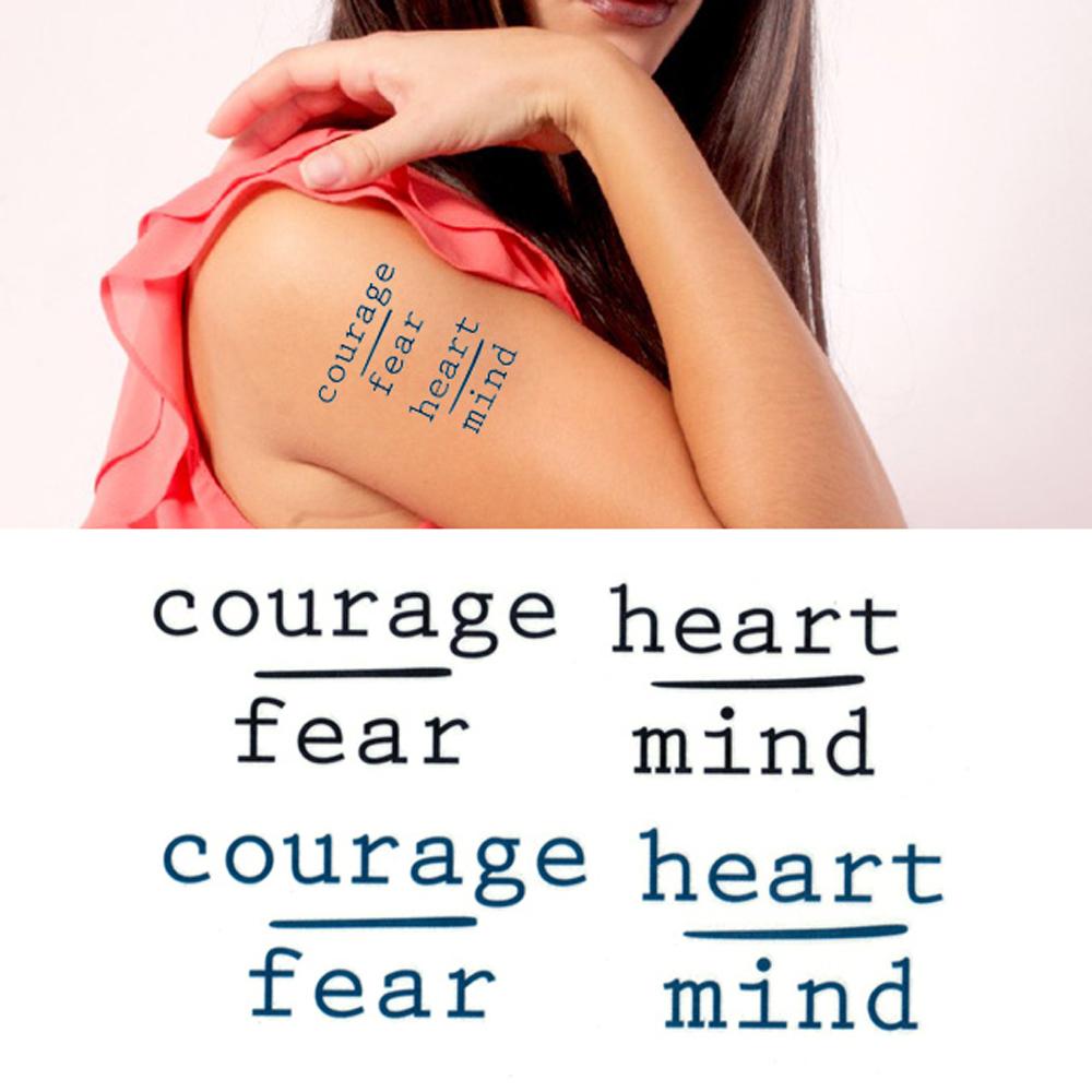 タトゥーシール 2枚セット courage fear heartmind【タトゥーシール/TATTOO/ボディシール/刺青シール/ステッカー】