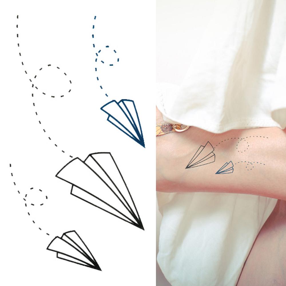 タトゥーシール 2枚セット 紙ヒコーキ【タトゥーシール/TATTOO/ボディシール/刺青シール/ステッカー】